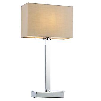 Lampe de table plaque chromée, tissu Taupe abat-jour rectangulaire avec prise USB