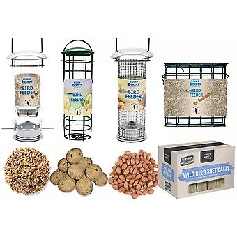 Yksinkertaisesti suora sarja 4 x Deluxe-pähkinää, siemeniä, rasvapalloa ja suet-kakunsyöttöjä 1KG-pussilla maapähkinöitä, 1KG pussi sekoitettuja siemeniä, 6 rasvapalloa ja 6 suet-kakkua Wild Bird Feed