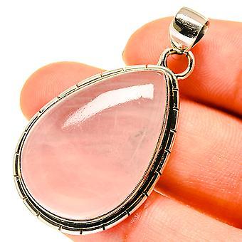 "Rose Quartz Pendant 1 3/4"" (925 Sterling Silver)  - Handmade Boho Vintage Jewelry PD760483"