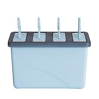 Summer Diy Ice Cream Model Four-cell Popsicle Mold Ice Maker Box Mold(Blue)