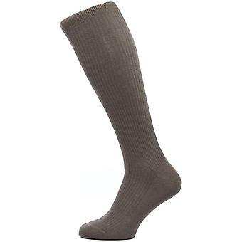Pantherella Naish costilla sobre los calcetines de lana de Merino de becerro - Chocolate