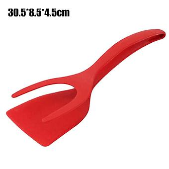 (Red) Amazing Pliers Handle And Flip Spatula 2 In 1 Tongs Clamp Pancake Fried Egg Tool