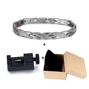 Health Energy Bracelet Male, Cross Stainless Steel, Magnetic Men Gold-color(Silver Tool Box)