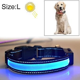 Mittlerer und großer Hund Haustier Solar + USB-Aufladung LED Licht Halsband, Halsumfang Größe: L,