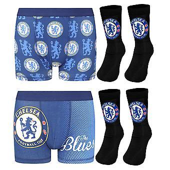 Chelsea FC Boys Șosete & Boxer Pantaloni scurți Set OFICIAL Fotbal Cadou