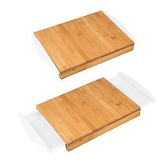 Bamboe snijplank met 2 uitschuifbare opvang bakken