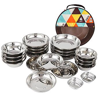 Portable Dinner Plate 22 Piece Set Of Outdoor Camping Tableware