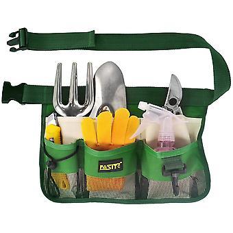 Wear-resistant Waterproof Gardening Tool Waist Bag With 7-pocket Hanging Pouch For Men&women, Adjustable, Green