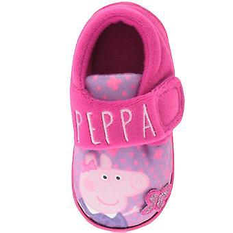 Filles Novelty Peppa Cartoon Character Violet Pink Slipper