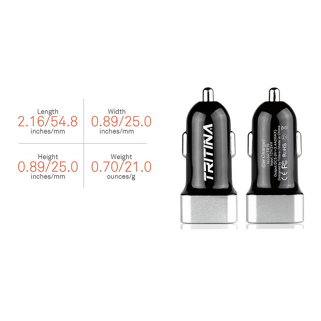 Tritina Car Charger 17W 3.4A Dual USB Port with Charge Sync Cable for iPhone, Samsung and Other Mobile Phone Tablet PC