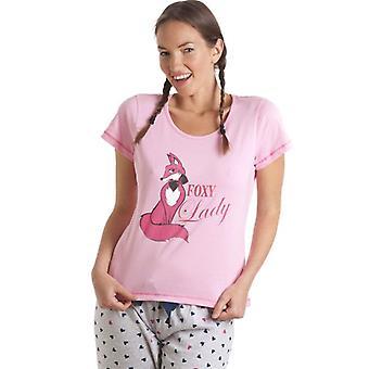 Camille rosa og grått Foxy Lady Pyjama sett