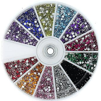 1200 Rhinestone Wheel Diamante Crystal Gems Nail Art Cards 3D Tips Decoration