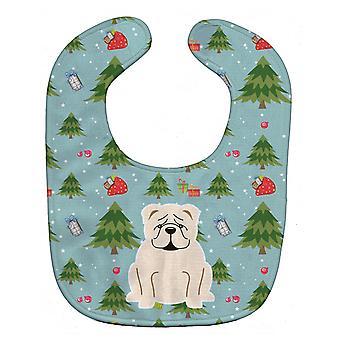 Carolines trésors BB4783BIB Noël anglais Bulldog bavoir bébé blanc