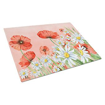 Carolines Treasures  BB7448LCB Poppies and Chamomiles Glass Cutting Board Large