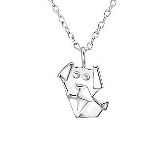 Origami Dog - 925 Sterling Silver Plain Necklaces - W26032X