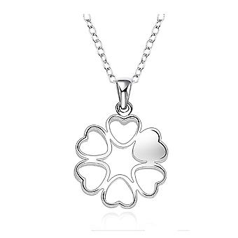 Womens Ladies Love Heart Necklace Silver Plated Flower