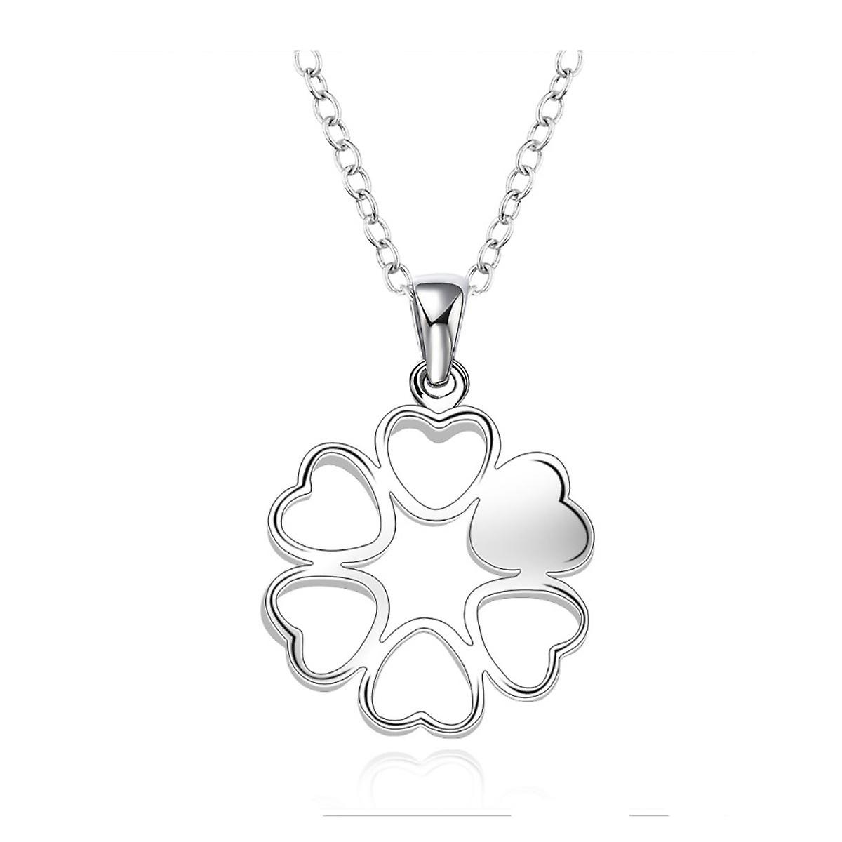 b1963ec4a0cc0 Womens Ladies Love Heart Necklace Silver Plated Flower