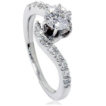 5 / 8ct кривой алмаз обручальное кольцо 14K Белое золото