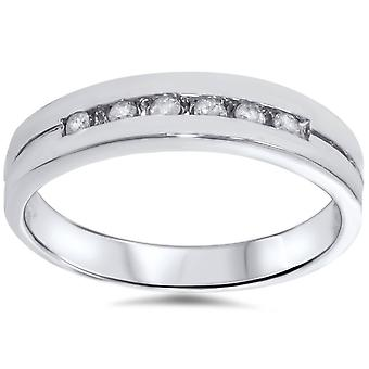 1/4ct Diamond Wedding White Gold Stackable Guard Ring