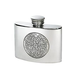 Celtic Embossed Small Pewter Hip Flask - 2oz