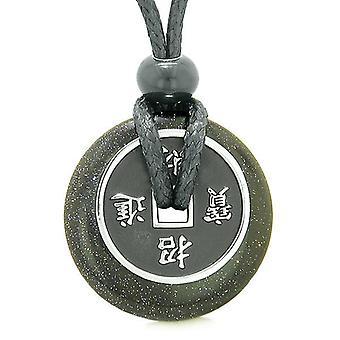 Amulette pièce porte-bonheur charme Donut Goldstone bleu cristal magie pouvoirs spirituels collier réglable