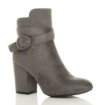 Ajvani Womens hohe Ferse Zip Schnallen Gurt, Chelsea Reiten Knöchel Stiefel