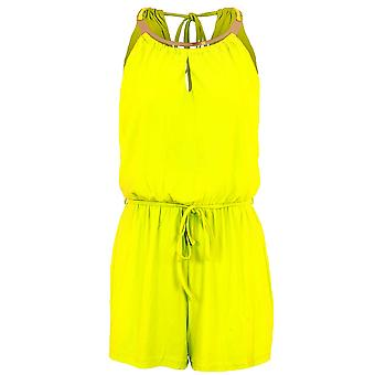 Ladies Gold Plated Necklace Gathered Tie Waist Strappy Women's Summer Playsuit