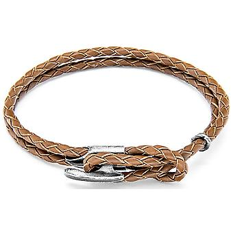 Anchor and Crew Padstow Silver and Leather Bracelet - Light Brown
