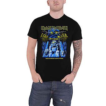 Iron Maiden T camisa Somewhere Back em tempo múmia banda logotipo oficial Mens Black