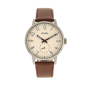 Simplify The 3400 Leather-Band Watch - Silver/Brown