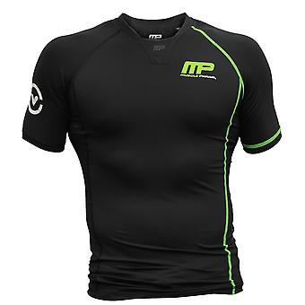 MusclePharm Mens MP Stay Cool Virus V-Neck Compression Top - Black - gym fitness