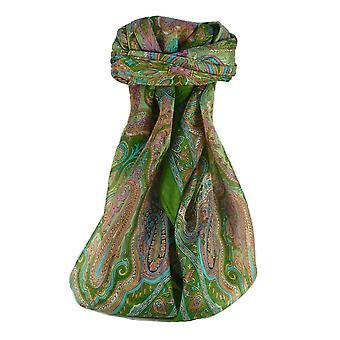 Pañuelo cuadrado de seda tradicional de Mora Queta Sage por Pashmina y seda