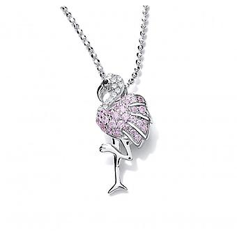 Cavendish French Silver and Pink CZ Flamingo Pendant with Silver Chain