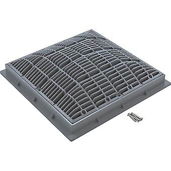 "Waterway 640-4727 V 12"" x 12"" Square Main Drain Grate with Frame - Gray"