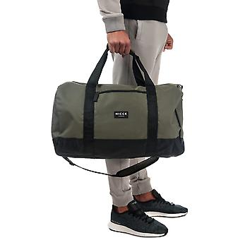 Nicce Core Barrel Bag In Olive- One Main Zip Compartment- Zip Pocket To Front-