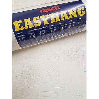 Rasch White Geometric Plain Wallpaper Textured Paintable Embossed Heavyweight