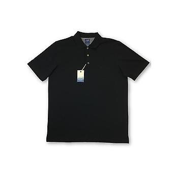Olyp Casual Two Ply polo in black subtle stripe