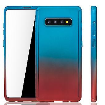 Samsung Galaxy S10 Handy Hülle Schutz-Case Full-Cover Panzer Schutz Folie Blau / Rot