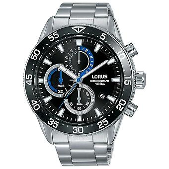 Lorus | Mens Chronograph | Black Dial | Stainless Steel Bracelet | RM335FX9 Watch