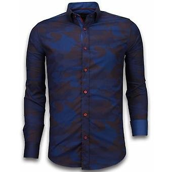 E Shirts - Slim Fit - Army Lined Pattern - Bordeaux
