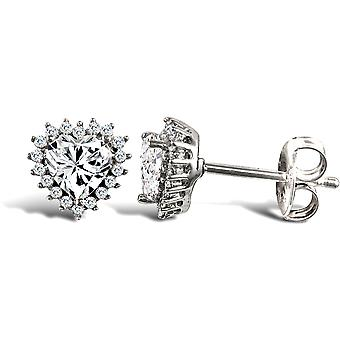 Jewelco London Ladies 9ct White Gold White Round Brilliant Cubic Zirconia Love Heart Cluster Stud Earrings