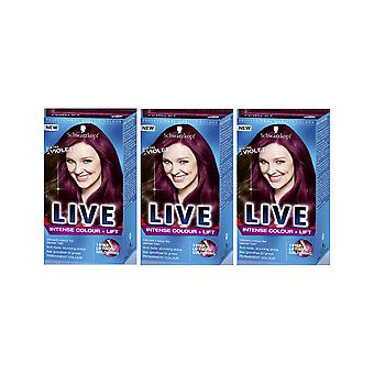 Schwarzkopf LIVE Color Intenso & Lift L76 Ultra Violet Pro Hair Colour Dye x 3