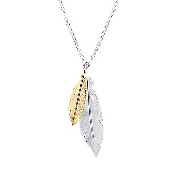 Jewelco London Ladies Gold-Plated Sterling Silver Angel Wing Feather Charm Necklace 16 - 1 pouce