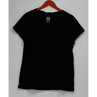 C. Wonder Top Essentials Slub Knit Short Sleeve T Shirt Black A289698