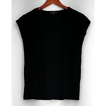 View by Walter Baker Short Sleeve Scooped Neckline Top Black NWOT A263086