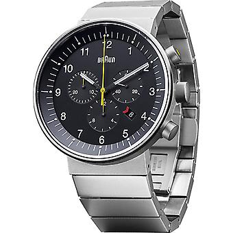 Braun prestige chronograph Swiss Quartz Analog Man Watch with BN0095BKSLBTG Stainless Steel Bracelet
