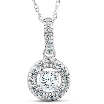 14K 1 / 3ct flottant Solitaire Pave pendentif diamant rond