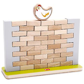 Mundo clásico - Wooden Pick a Brick Stacking Tumble Tower Jenga Style Wall Game, Balancing and Learning