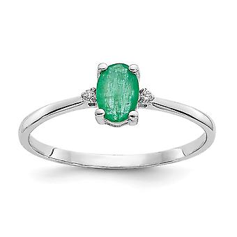 10k White Gold Oval Polished Prong set Diamond Emerald Ring Size 6 Jewelry Gifts for Women - .01 dwt