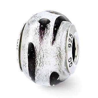 925 Sterling Silver Reflections Silver Black Italian Murano Glass Bead Charm Pendant Necklace Jewelry Gifts for Women